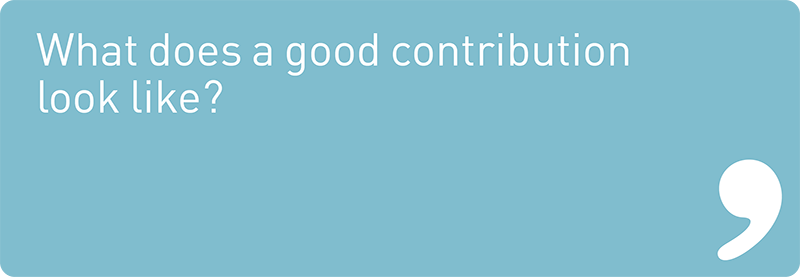 What does a good contribution look like